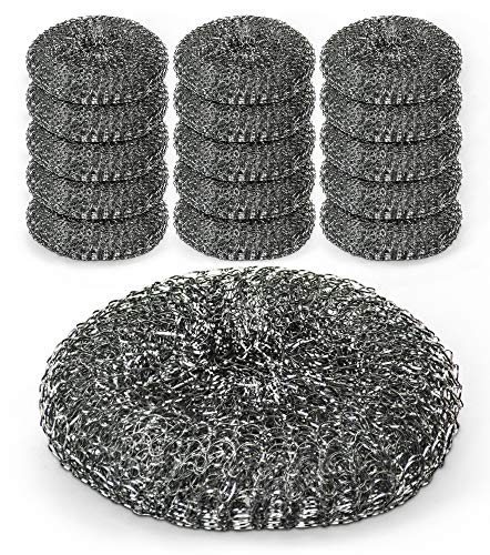 DecorRack Stainless Steel Wire Mesh Dish Scrubber Sponge, Commercial Quality Multipurpose Scourers Perfect for Kitchen, Removes Tough Grease and Dirt, Heavy Duty Steel Wool Cleaning Pads (Pack of 15)