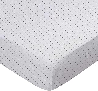 product image for SheetWorld Fitted 100% Cotton Jersey Square Play Yard Sheet Fits Joovy 38 x 38, Grey Pindot, Made in USA