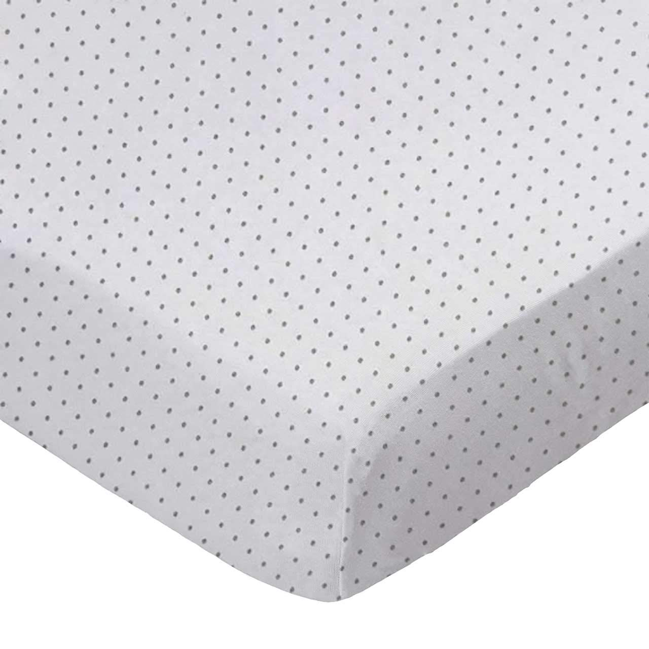 SheetWorld Fitted Cradle Sheet 18 x 36 White Swiss Dot Jersey Knit Made in USA