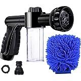 EVILTO Garden Hose Nozzle, High Pressure Hose Spray Nozzle 8 Way Spray Pattern with 3.5oz/100cc Soap Dispenser Bottle…