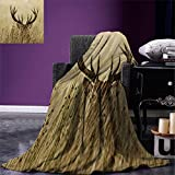 smallbeefly Antler Decor Digital Printing Blanket Whitetail Deer Fawn in Wilderness Stag Countryside Rural Hunting Theme Summer Quilt Comforter Brown Sand Brown