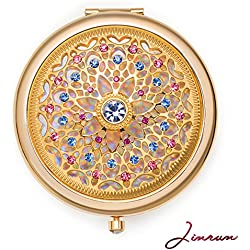 Unique Gifts For Women / 24k Gold Electroplate Makeup Mirror by Jinvun: Ultimate Luxury Round Vanity Mirror w/ Diamonds/ Sturdy Travel Purse Compact Cosmetic Mirror/ Folding Magnifying Beauty Mirror