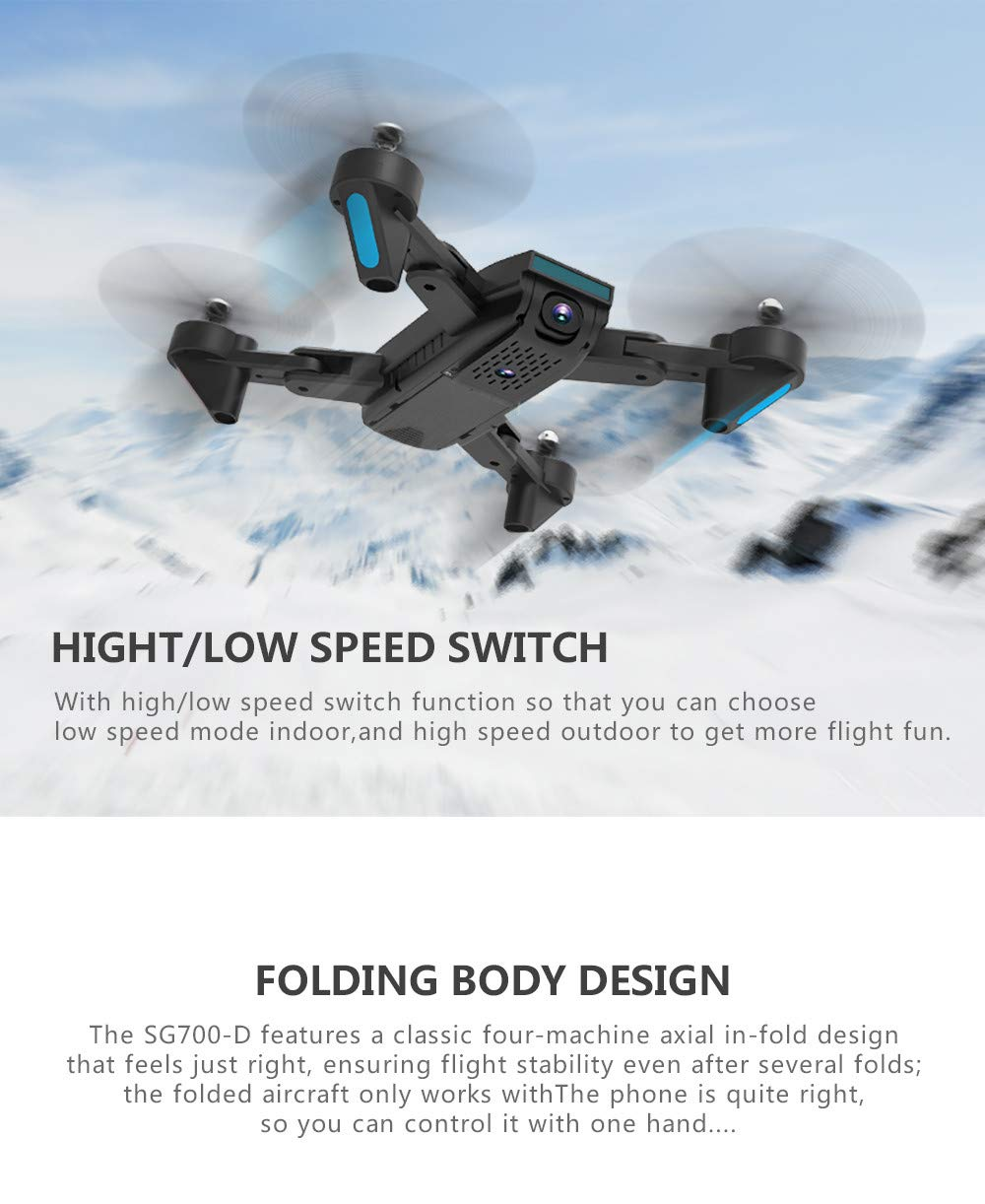 LikeroNew SG700-D 2.4Ghz 4CH Wide-Angle WiFi 4K HD Dual Camera Optical Flow RC Quadcopter Drone Hover,Beginners -Controlled Through The Mobile Phone App -One-Key Start&one-Key Landing (Black) by Likero (Image #2)