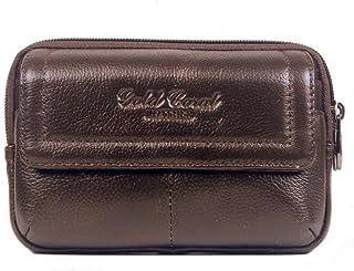 Genda 2Archer Leder Reißverschluss Geldbörse Portable Gürteltasche (Braun)