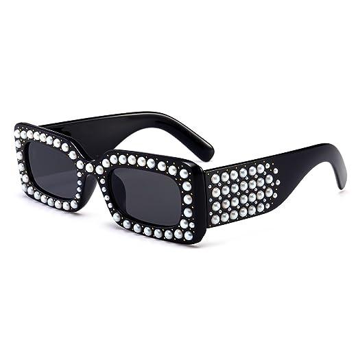 fd4aed85cad Pearl Sunglasses Rectangle Rivet Luxury Sun Glasses Women Summer  Accessories 2018 (black)