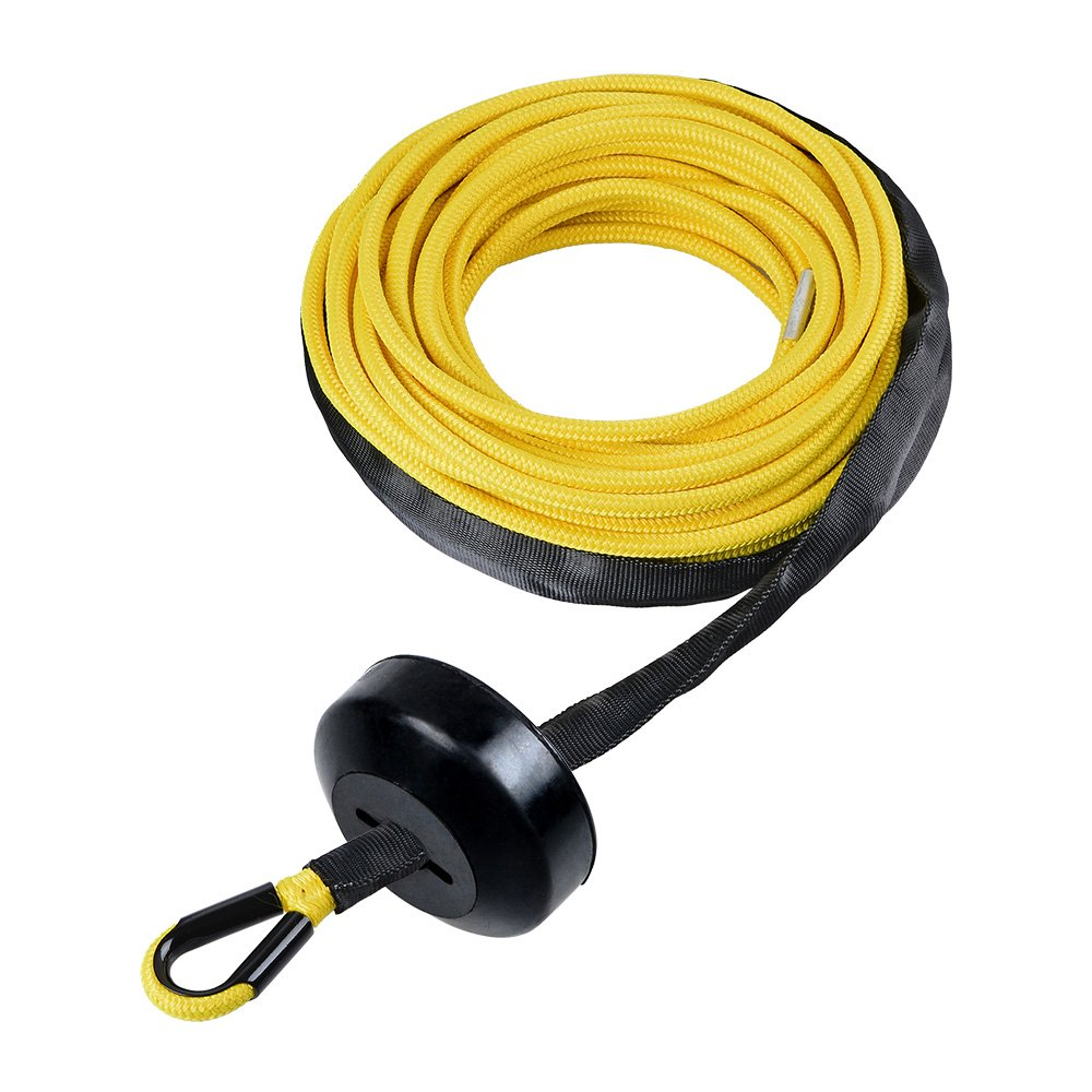 Astra Depot 50' x 1/4'' 7000lbs YELLOW Synthetic Winch Line Cable Rope w/Rock and all Heat Guard + Rubber Stopper ATV UTV SUV KFI Recovery Replacement