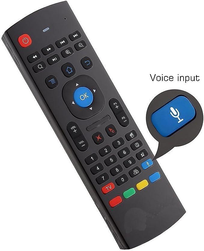 YFish Mando a Distancia con Mini Teclado Universal Inalámbrico 2 en 1 Sirve como Ratón Air Mouse Inteligente para Tele Ordenador Smart TV Box con Sistema Android Mac OS Windows y Linux