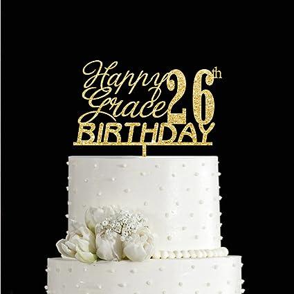 Amazon KISKISTONITE Double Sided Glitter Happy Birthday Cake