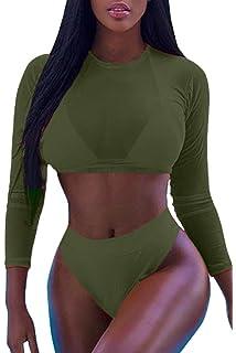 b24b3cca71311e Meyeeka Womens Sexy High Waist Rash Guard Swimwear Long Sleeve 3PCS Swimsuit