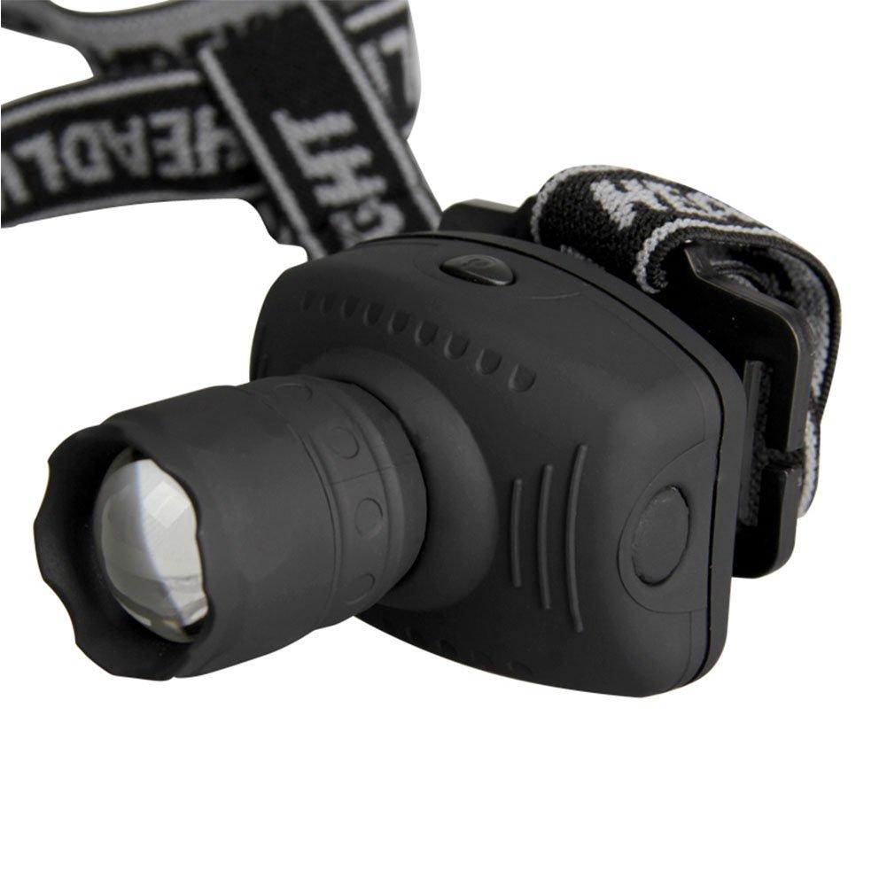 para camping proporciona un haz de largo alcance y amplia difusi/ón de iluminaci/ón 3 modos de luz de engranaje linterna frontal con zoom el/ástico Linterna frontal LED pesca nocturna