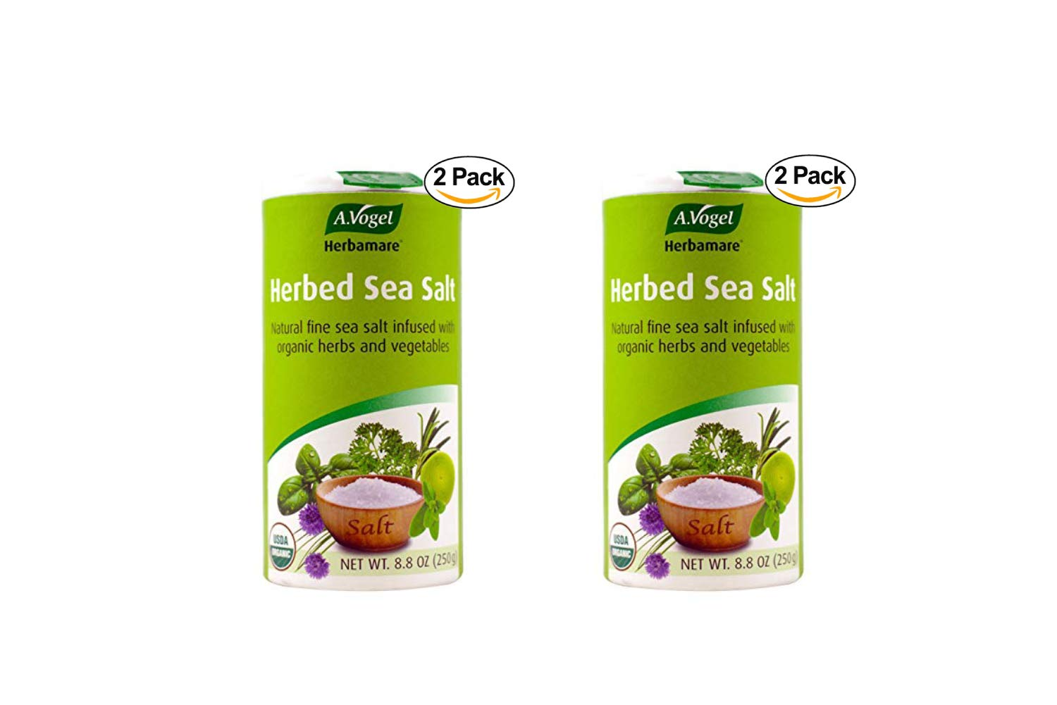 A. Vogel Herbamare Original Natural Fine Sea Salt with Organic fresh herbs and vegetables, 8.8-Ounce Containers (Pack of 2) (2 Pack)