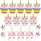 Unicorn Cupcake Toppers and Wrappers - 48 Pack Double-Sided Cake Toppers Set for Baby Shower, Kids Birthday, Unicorn Themed Birthday Party Cake Decorations