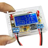 Icstation Adjustable Buck Converter Digital DC Voltage Regulator Step Down Power Supply Module Voltmeter Ammeter with Shell 5-23V to 0-16.5V 3A