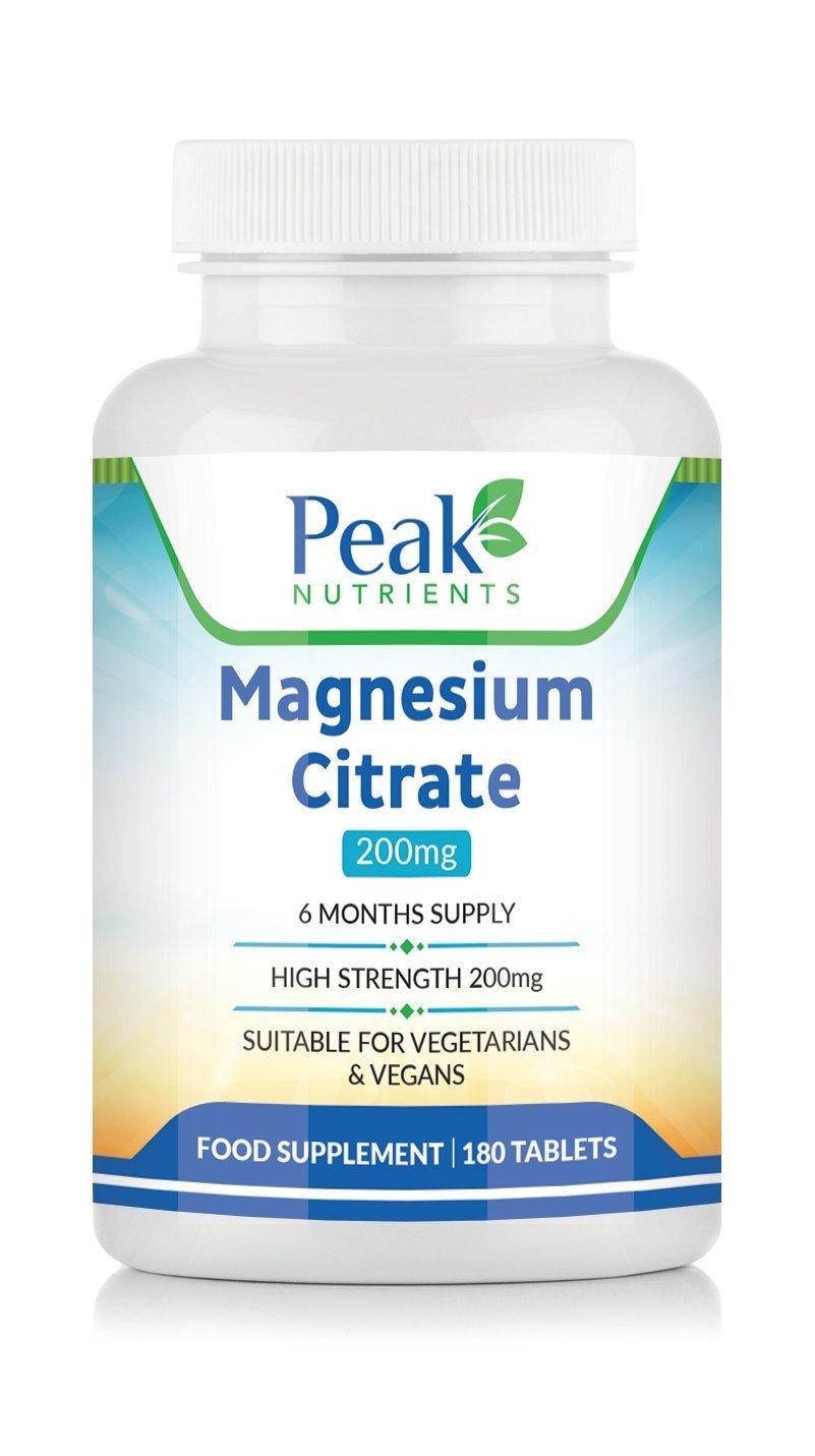 Citrato de Magnesio, 180 Comprimidos de 200 mg (Suministro para 6 meses), Apto para Vegetarianos y Veganos, Fabricado Rigurosamente en el Reino Unido: ...