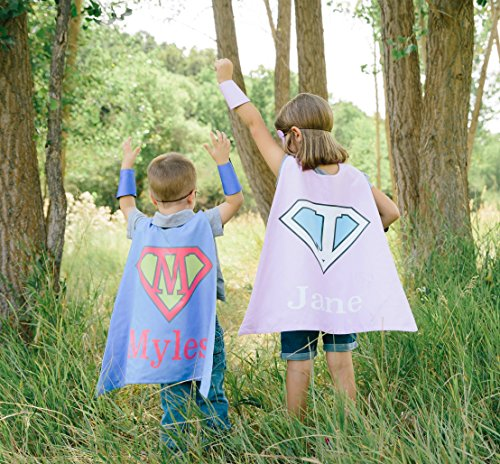 Superhero or Princess Personalized Kids Girl and Boy Cape Halloween Costumes Birthday (Super Pink)