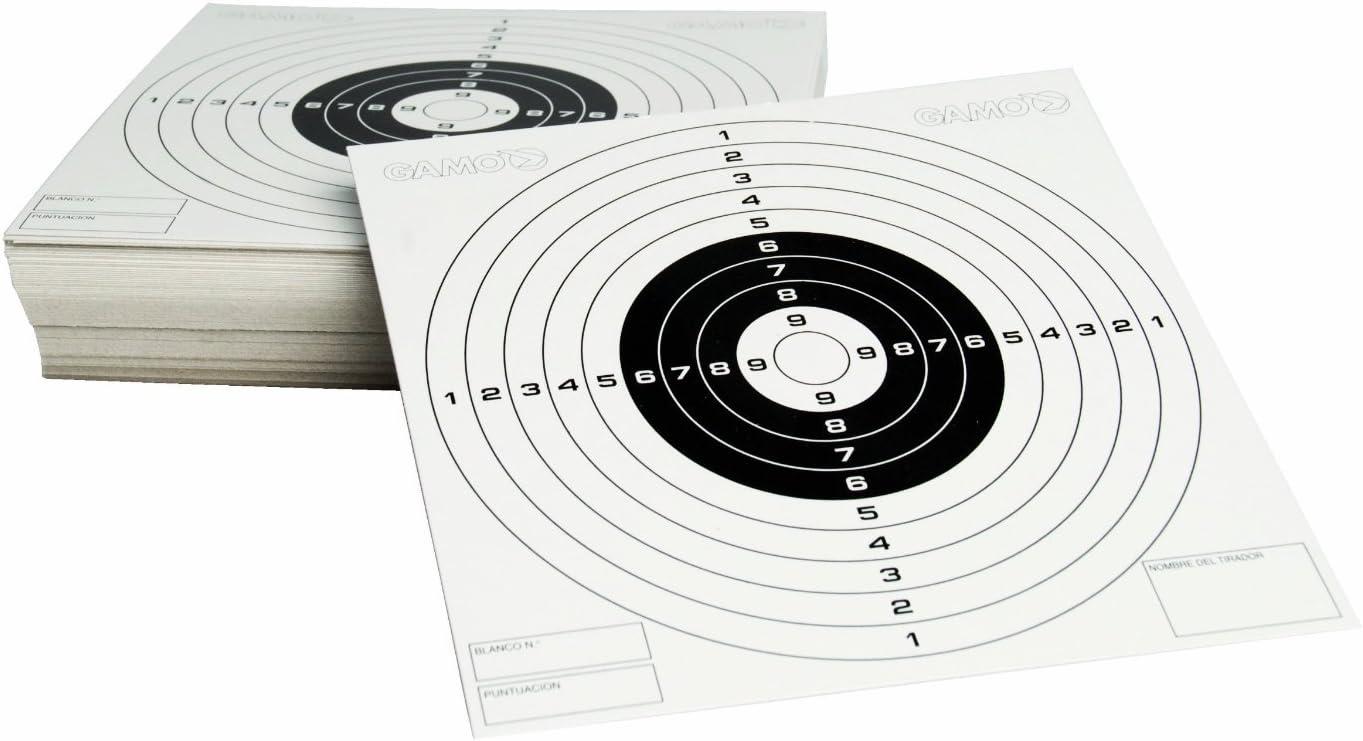 100 dianas de carton de tiro al blanco Gamo tama/ño 14x14 cm Set de tiro Funda Multiusos Cazabalines de hierro