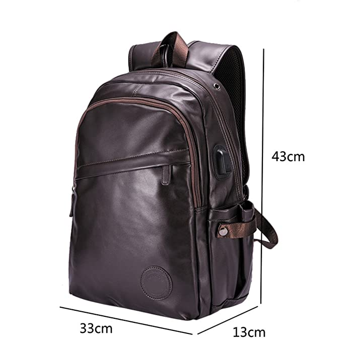 Amazon.com: UKXMNC Men Backpacks Leather Laptop Bagpack Mens External Usb Port Backpack School Bag Sac Black 14 Inches: Sports & Outdoors