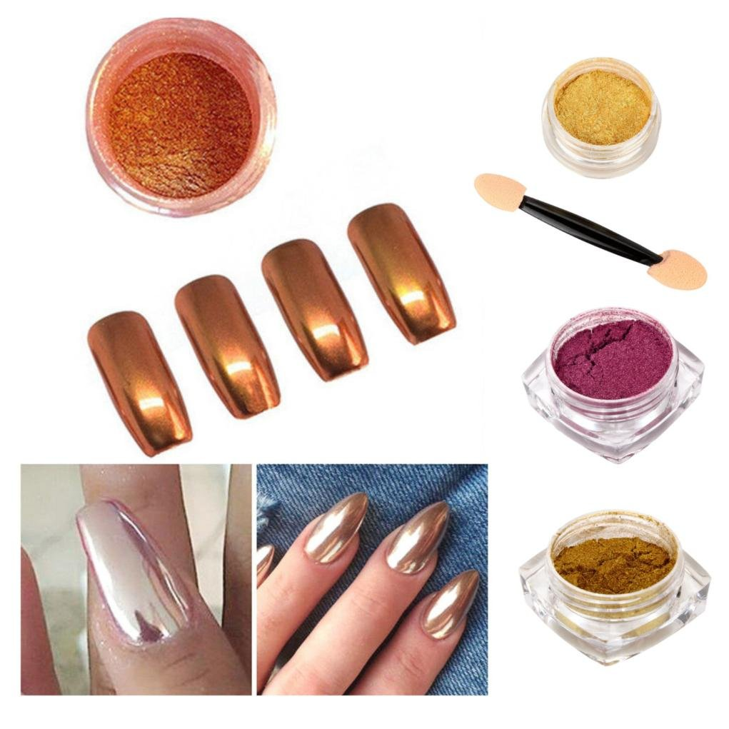 Dolloress Nail Tips ⭐2g. Glitter Chrome Powder Rose Gold Nail Mirror Powder Art Manicures Decoration