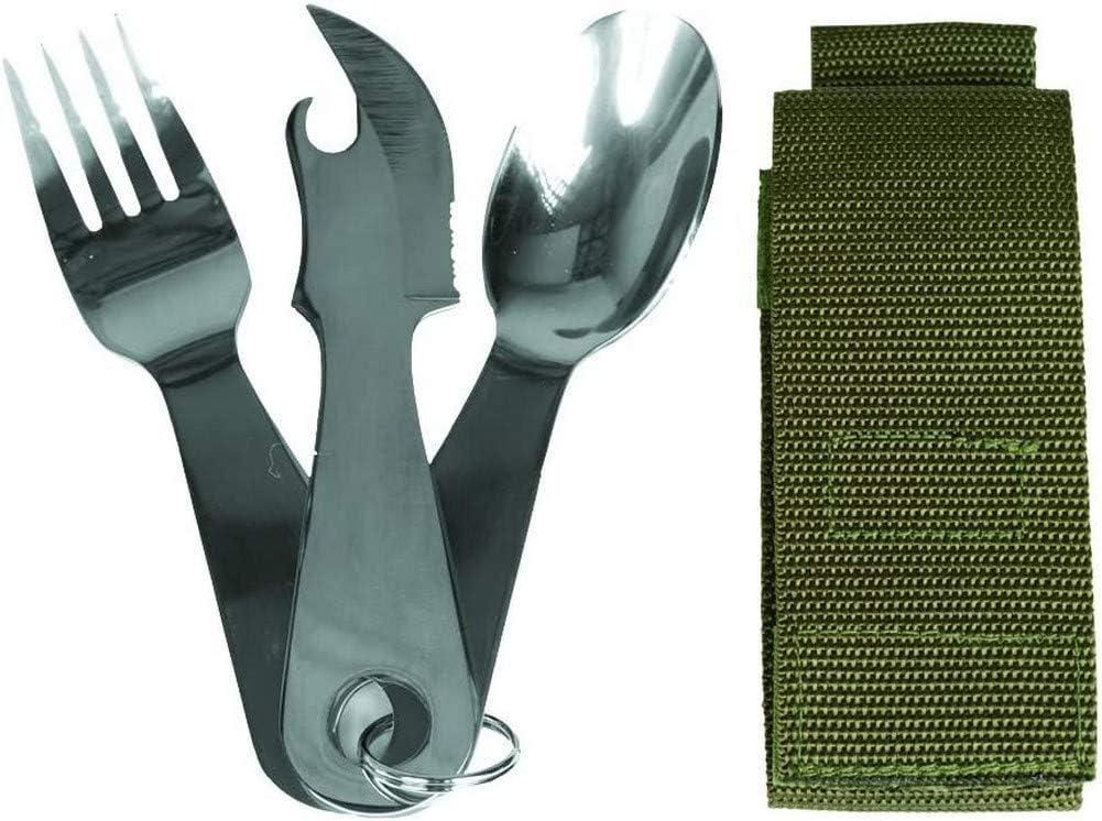 Miltec - Juego de 3 cubiertos de acero inoxidable para adulto, unisex, talla única