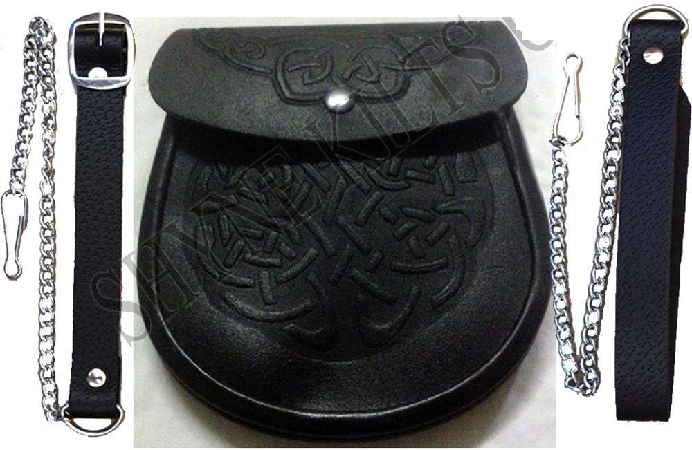 Dise/ño c/éltico del nudo de cuero negro bolsa Kilt escoc/és Medieval escarcela y cintur/ón