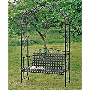 MANDALAY IRON PATIO ARBOR BENCH In ANTIQUE BLACK   PATIO FURNITURE