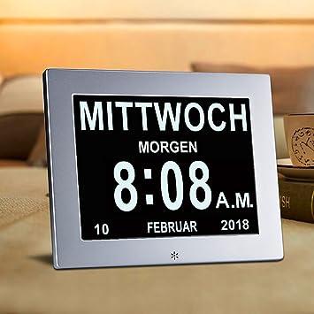 Nivelador SUPERWORLD de metal, 8 inch. Reloj digital con calendario y fecha. Funda de metal ultra.