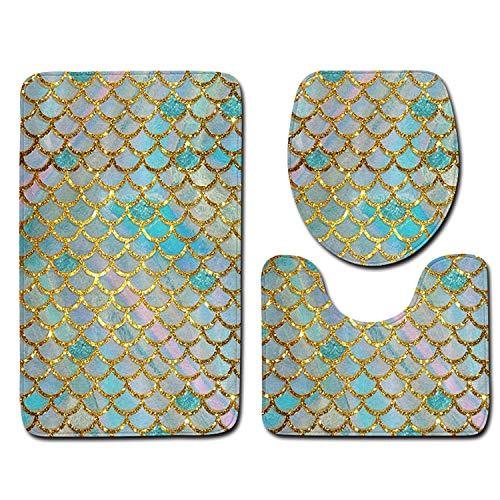 3Pcs Bath Mats Carpet Set Non-Slip Fish Scale Bath Mat Bathroom Kitchen Carpet Doormats Decor Toilet Seat Cover Rug Carpet,E,45X75Cm (Spiderman Rugs And Carpet)