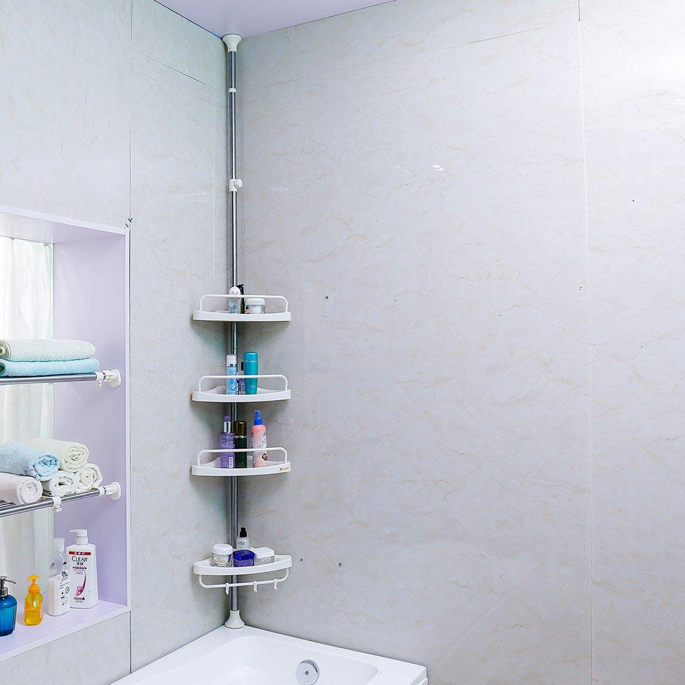 amazon com baoyouni rust proof tension pole corner shower caddy amazon com baoyouni rust proof tension pole corner shower caddy adjustable bathroom storage rack white home kitchen