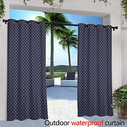 - Outdoor Privacy Curtain for Pergola,Abstract Geometric Pattern with dots and Circles in Disco Style, Background Texture Wallpaper in Warm Colors,W84 x L84 for Patio Light Block Heat Out Water Proof