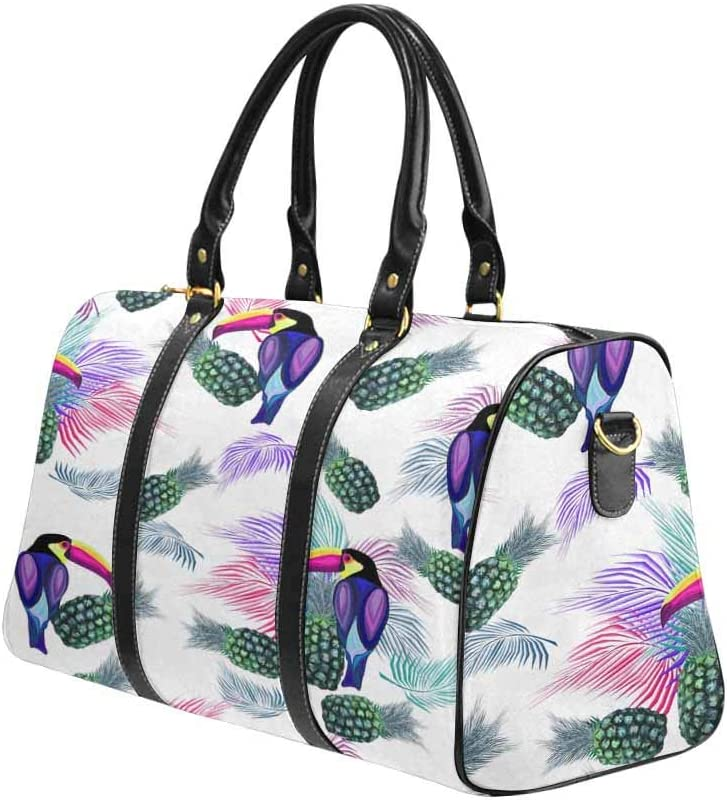 Birds InterestPrint Unisex Duffel Bag Carry-on Bag Overnight Bag Weekender Bag Toucan Palm Leaves Pineapples Fruits