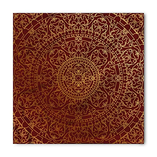 Lunarable Oriental Bandana, Antique Arabic Artwork Mandala Inspired Round Ornament Moroccan Ethnic, Printed Unisex Bandana Head and Neck Tie Scarf Headband, 22 X 22 Inches, Yellow Burnt Orange