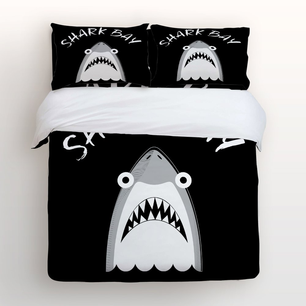 Bedding 4 Piece bed Set Comfortable Soft Brushed Cotton,Grey Funny Shark sea animal Black background 4 Piece Bed Sheet Set Duvet Cover Flat Sheet and 2 Pillow Cases