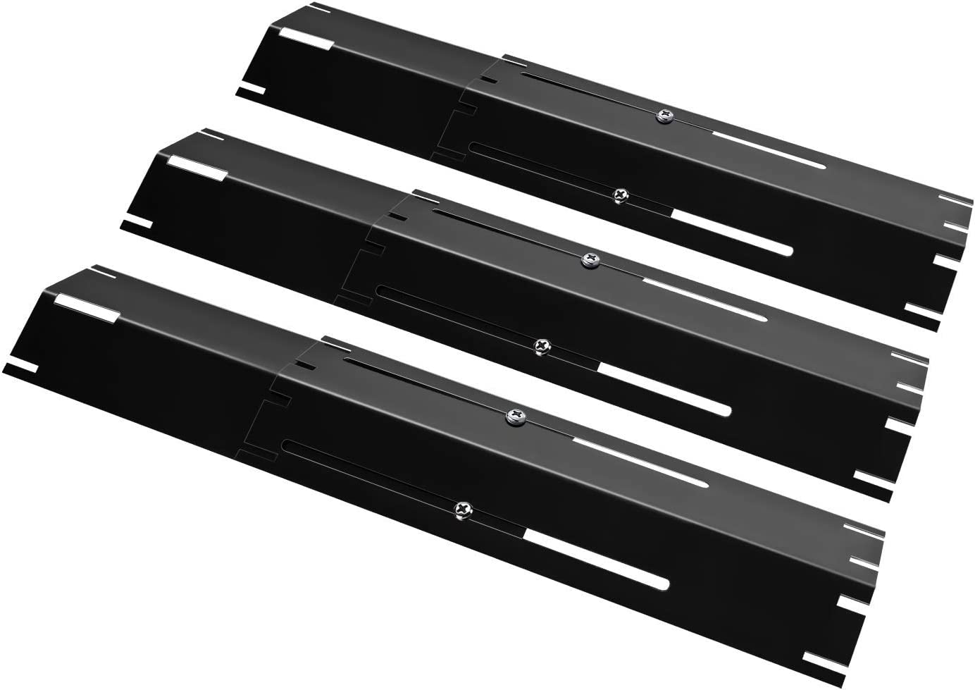 """DcYourHome Universal Adjustable Porcelain Steel Heat Plate Shield, Grill Replacement Parts, Heat Tent, Burner Cover,Flavorizer Bar Flame Tamer for Gas Grill, Extends from 11.75"""" up to 21"""" L 3 Pack"""
