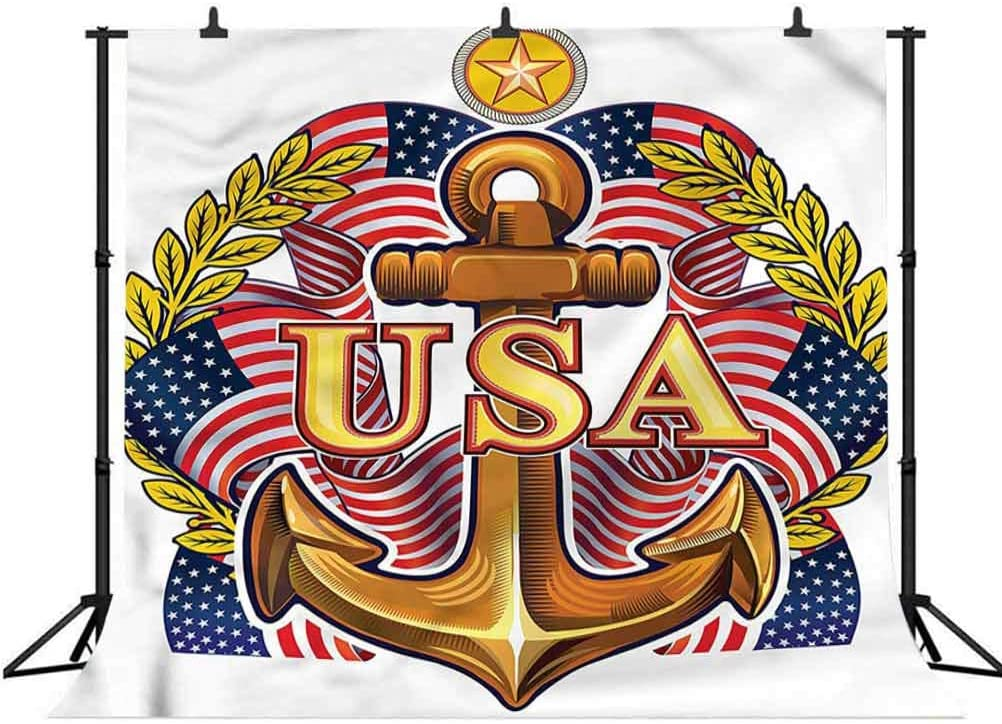 8x8FT Vinyl Photography Backdrop,Anchor,USA Navy American Flags Star Photo Background for Photo Booth Studio Props