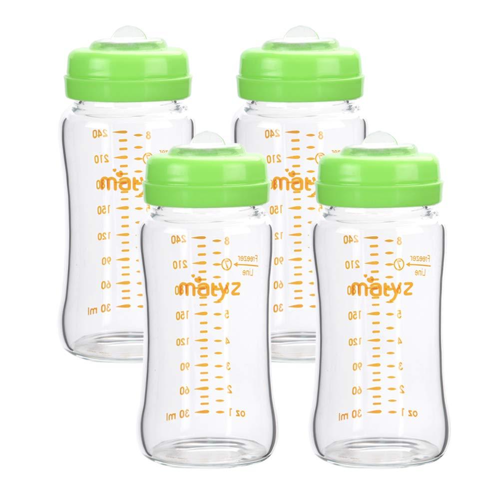 Matyz Glass Breastmilk Storage Containers, 4 Pack, 8 oz Bottle, Compatible with Spectra Medela Philips Pump - Freezer Safe Bottles Set - Leakproof Glass Breast Pump Bottles - BPA Free (Green Lids)