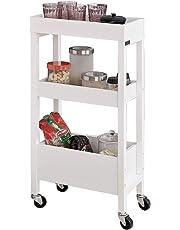 SoBuy® fkw49-w, madera 3 niveles carrito de servicio sobre ruedas, Home