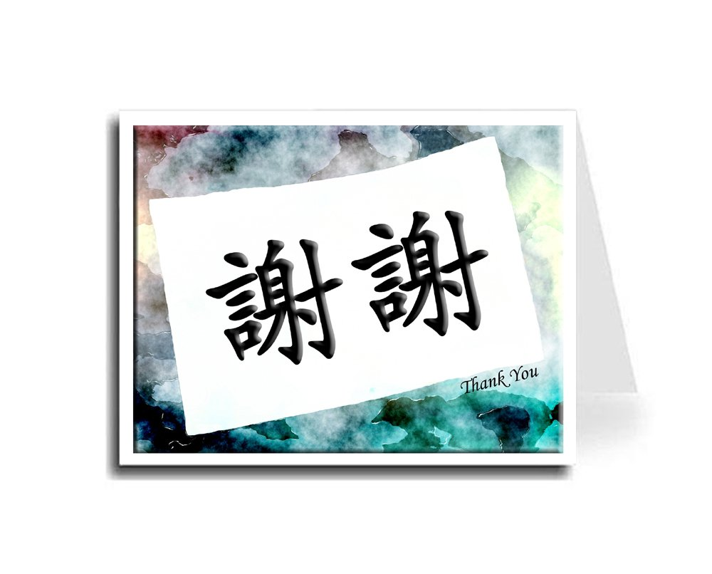 Oriental Design Gallery Watercolor Art Paper Chinese Calligraphy & Thank You Card Set of 20 (Monotype Corsiva Font)