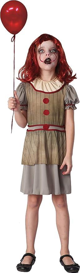 Ciao - Disfraz Horror Creepy Clown para niña, 7-10 años ...