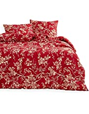 Wake In Cloud - Red Floral Duvet Cover Set Queen, Vintage Flowers Pattern Printed, Soft Microfiber Beddings with Zipper Closure (3pcs, Queen Size)