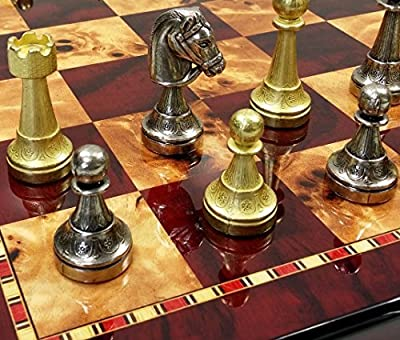 "ITALFAMA 70M Real Brass Metal Gold & Silver Color Floral Staunton Chess Men Set W/ 18"" High Gloss Cherry & Birdseye Maple Color Board"