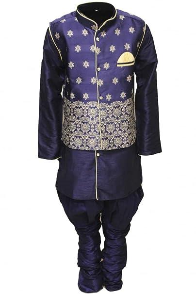 BYK2546 Azul marino y dorado Pijama Kurta de 4 piezas para niño Indian Bollywood Party Suit