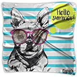 French Bull Dog Vector With Sunglasses 100% Polyester Silk Feeling Large Square Kerchief Neck Scarf Women Headdress
