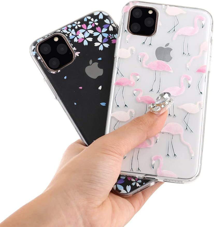 TPU Rubber Bumper Back Case Cover-White Flower//Flamingo//Falling Flower 3 Pack iPhone 11 Soft Case Cute Cover Creative Crystal Clear Slim Clear Silicone Gel Protective Case