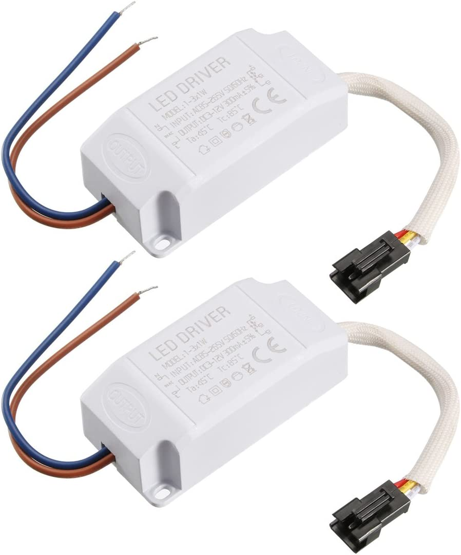 uxcell LED Driver 1-3 1W Constant Current 300mA AC 85-265V Output 3-12V Power Supply LED Ceiling Lamp Rectifier Transformer 2Pcs