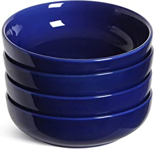 LE TAUCI Pasta Bowls 45 Ounce, Ceramic Salad Bowl, Large Serving Bowl Set - Set of 4, Blue
