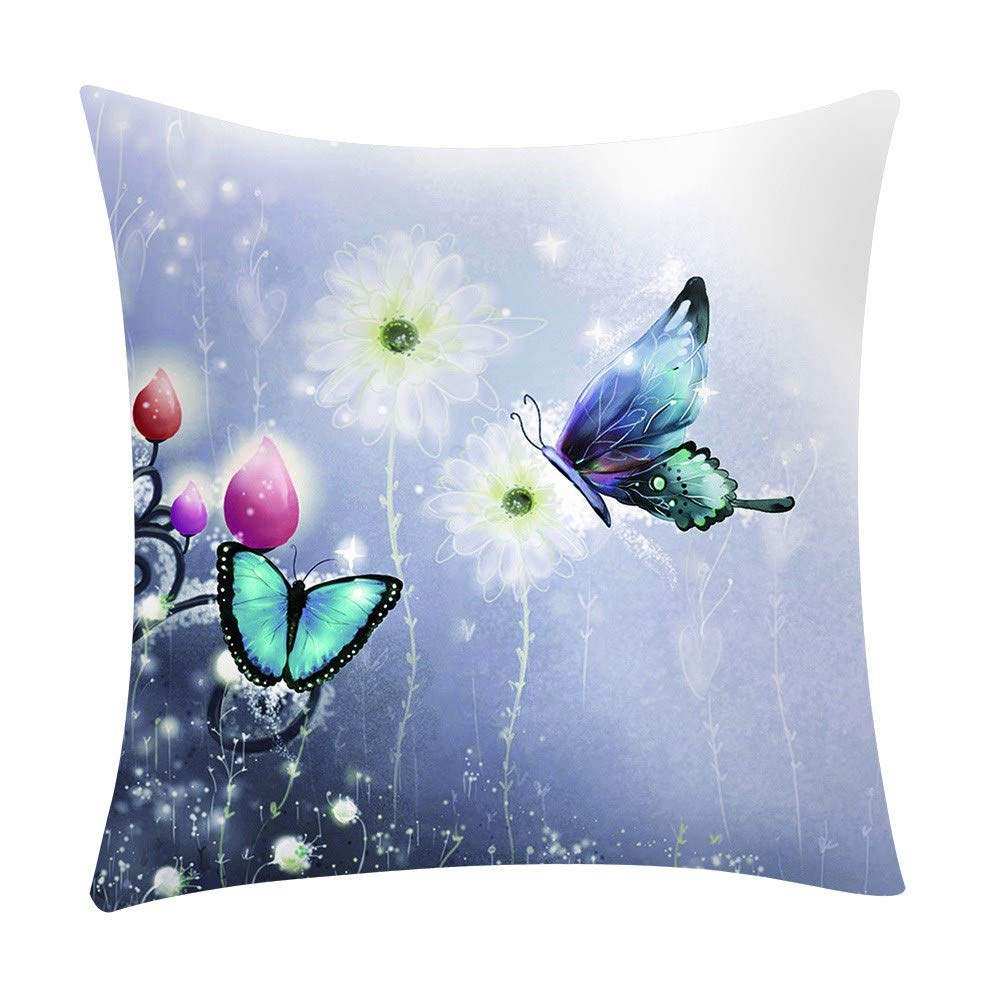 Throw Pillow Cover, Kimloog Butterfly Floral Print Zipper Sofa Cushion Case 18x18(A) by Kimloog-Pillow Case (Image #1)