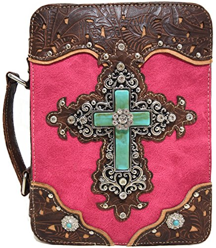 WF Western Style Embroidered Scripture Bible Verse Cover Cross Extra Strap Messenger Bag Crossbody (Fuchsia2)