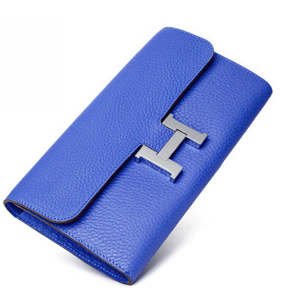 FBLUE Cowhide Women 's Long Wallet Envelope Package FB022 (Blue)