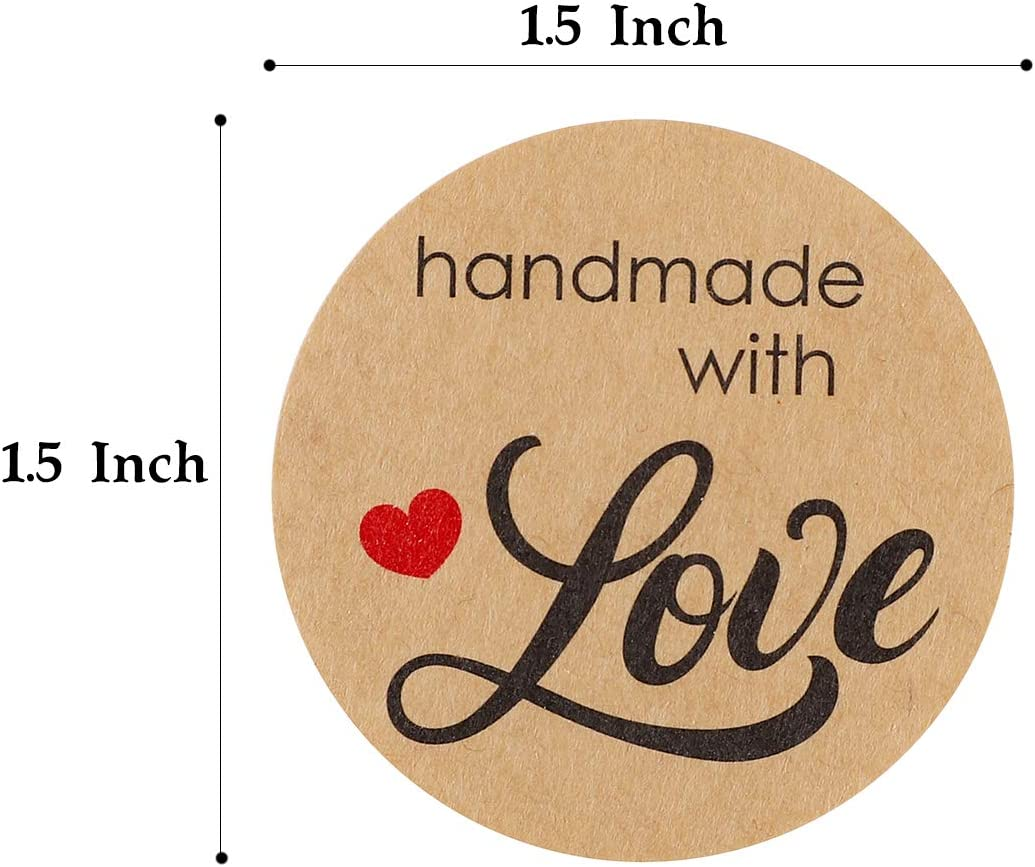 HM Home 1 1.5 Homemade with Love Sticker with Lines for Writing //2 Round Homemade with Love Canning Labels 500 Labels per roll