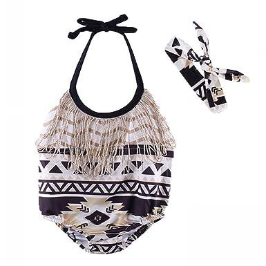 21f852382915 Amazon.com  Genenic 2Pcs Infant Baby Girls Tassels Floral Halter Romper  Jumpsuit +Headband Summer Outfits Clothes Set(18-24M)  Clothing